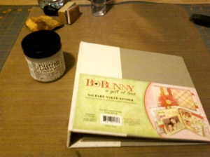 Begining BoBunny 6x6 canvas and chipboard binder.