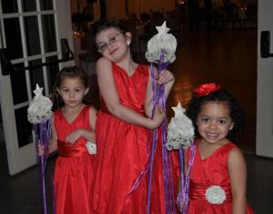My three adorable flower girls with the flower wands that I made them.