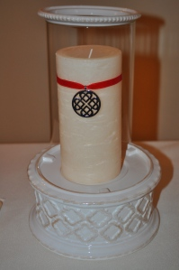 I used a GlowLite Pillar from Partylite as my unity candle.