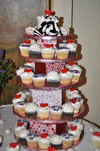 Close up view of of DIY cupcake Stand.  Photo By Jeannie Kelly