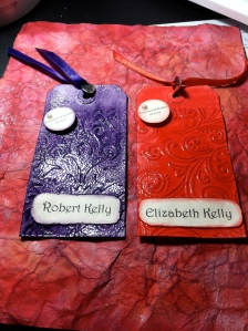 The name cards that I used at my wedding.  Red and purple in color.