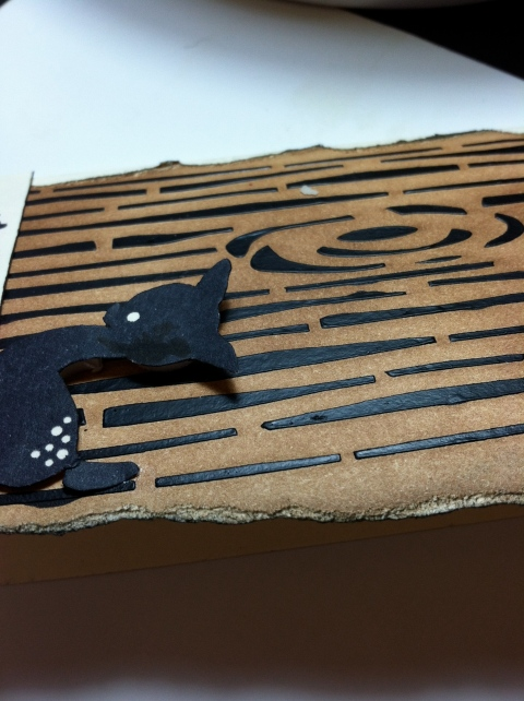 Black gesso over stencil from KittyCandy Paper Crafts